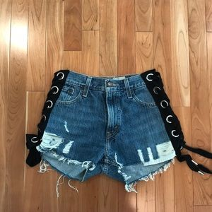 LF jean shorts with lace up sides Furst of a Kind